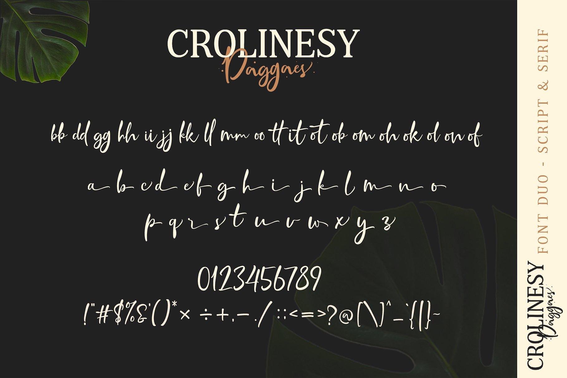 Crolinesy Daggaes Font Duo 7 - دانلود فونت Crolinesy Daggaes - مجموعه 6 فونت و فونت اسکریپت پرمیوم