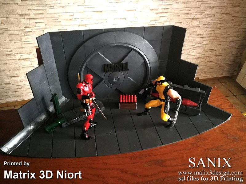 مدل سه بعدی Xmen Diorama Deadpool vs Wolverine