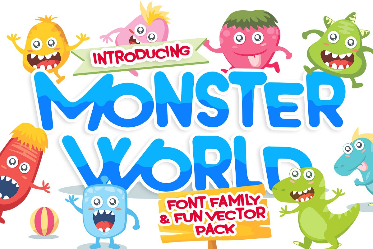 Photo of دانلود فونت و وکتور Monster World font & Fun Vector Pack