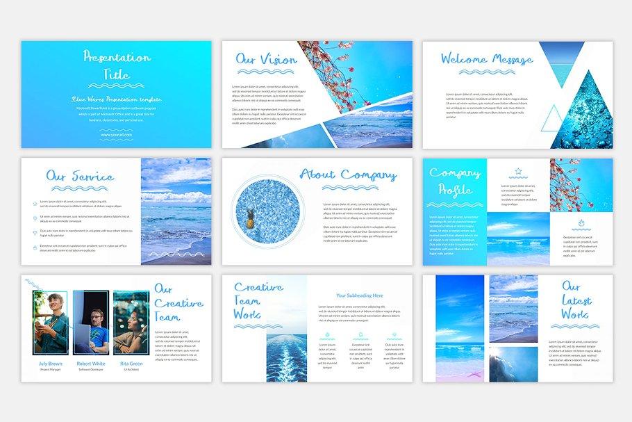 Blue Waves PowerPoint Template1 - دانلود قالب پاورپوینت Blue Waves - قالب آماده و حرفه ای PowerPoint