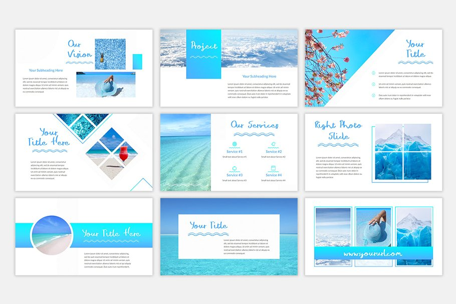 Blue Waves PowerPoint Template3 - دانلود قالب پاورپوینت Blue Waves - قالب آماده و حرفه ای PowerPoint