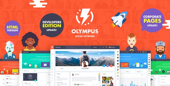 Olympus HTML Social Network Toolkit - دانلود قالب وردپرس Olympus - پوسته جامعه مجازی و شبکه اجتماعی وردپرس