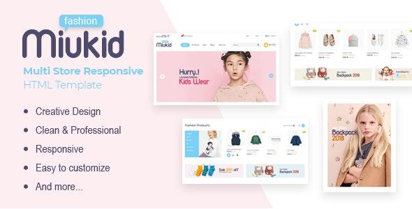 MiuKid Multi Store Responsive HTML Template - دانلود قالب فروشگاهی MiuKid - قالب فروشگاهی چند منظوره و حرفه ای شاپیفای