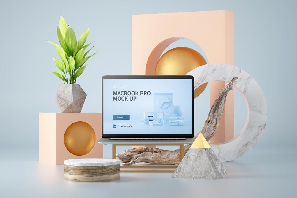 دانلود موکاپ Abstract Macbook Pro | موکاپ آماده مک بوک پرو