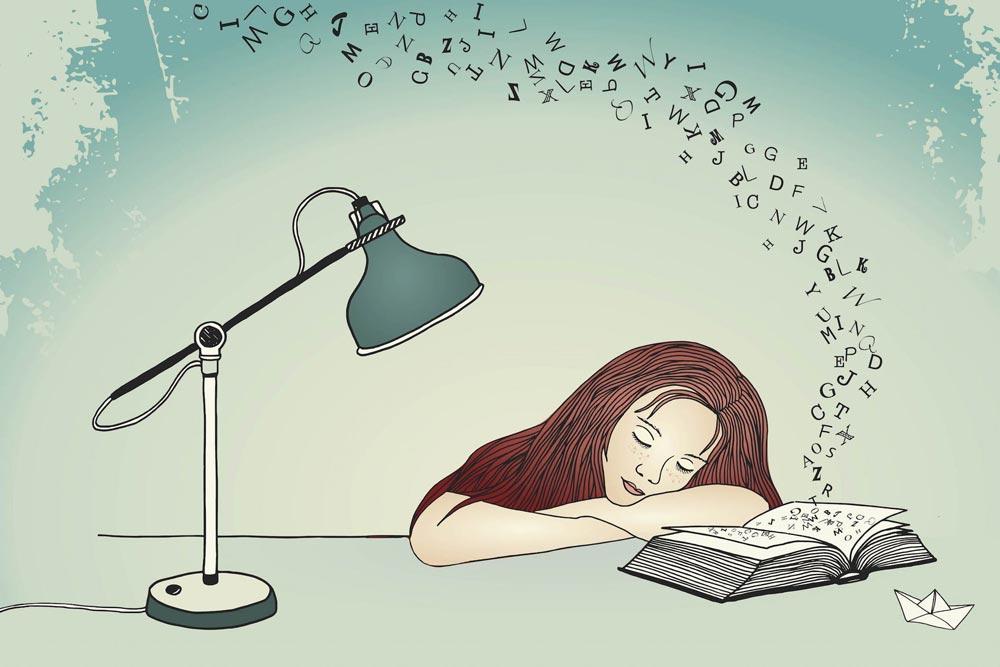 دانلود وکتور Asleep While Reading   خوابیدن هنگام مطالعه