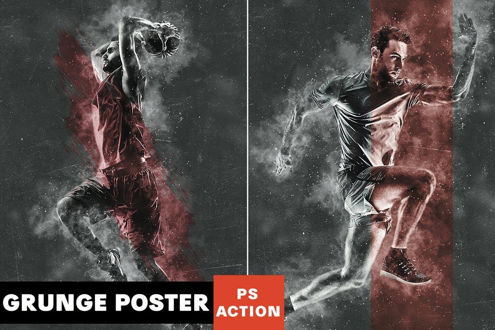 دانلود اکشن فتوشاپ Grunge Poster - اکشن فتوشاپ پوستر گرانج حرفه ای