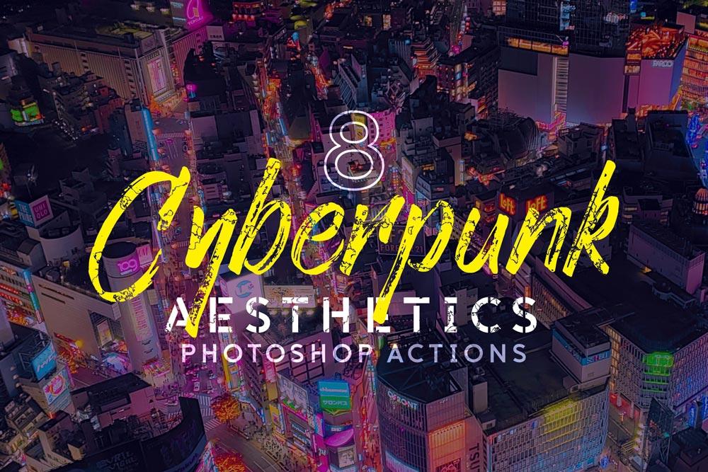 دانلود مجموعه اکشن فتوشاپ Cyberpunk Aesthetics