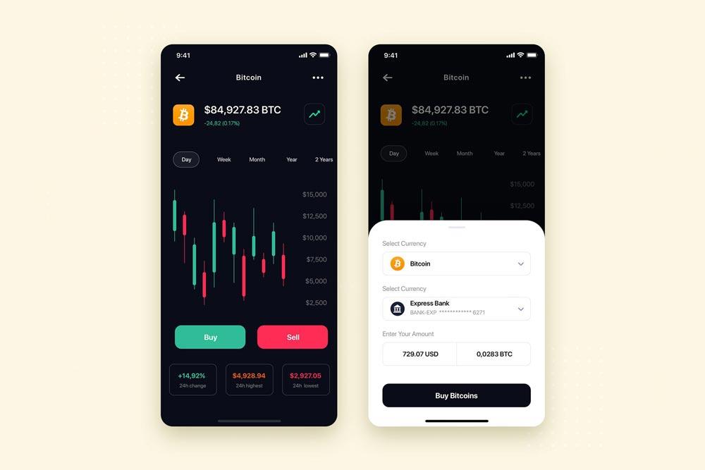 دانلود UI کیت اپلیکیشن موبایل Crypto Exchange Mobile App UI Kit