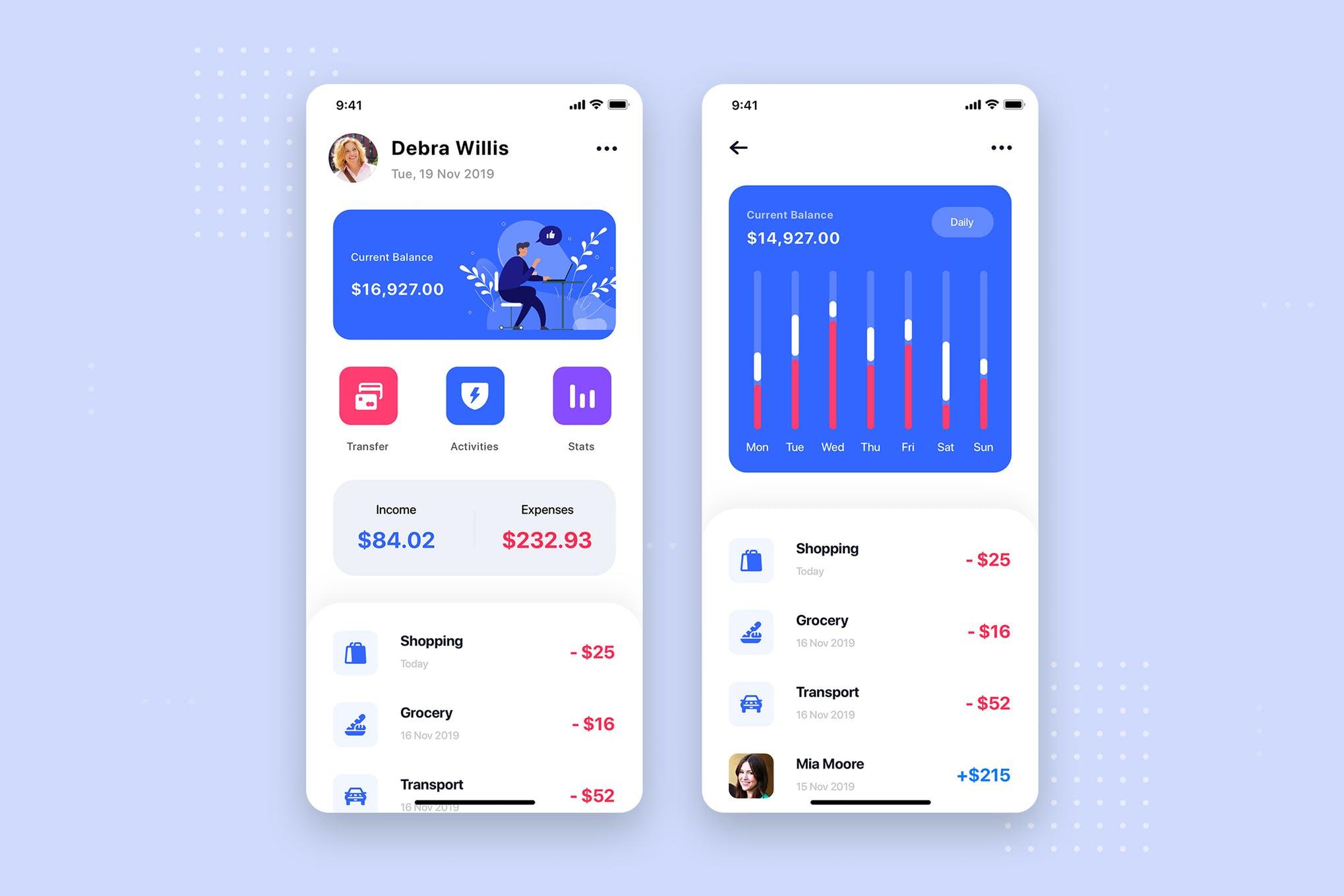 دانلود UI Kit اپلیکیشن موبایل Mobile Banking UI Kit Template