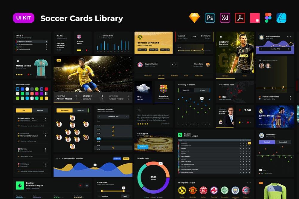 دانلود مجموعه UI Kit بی نظیر Soccer cards dark UI
