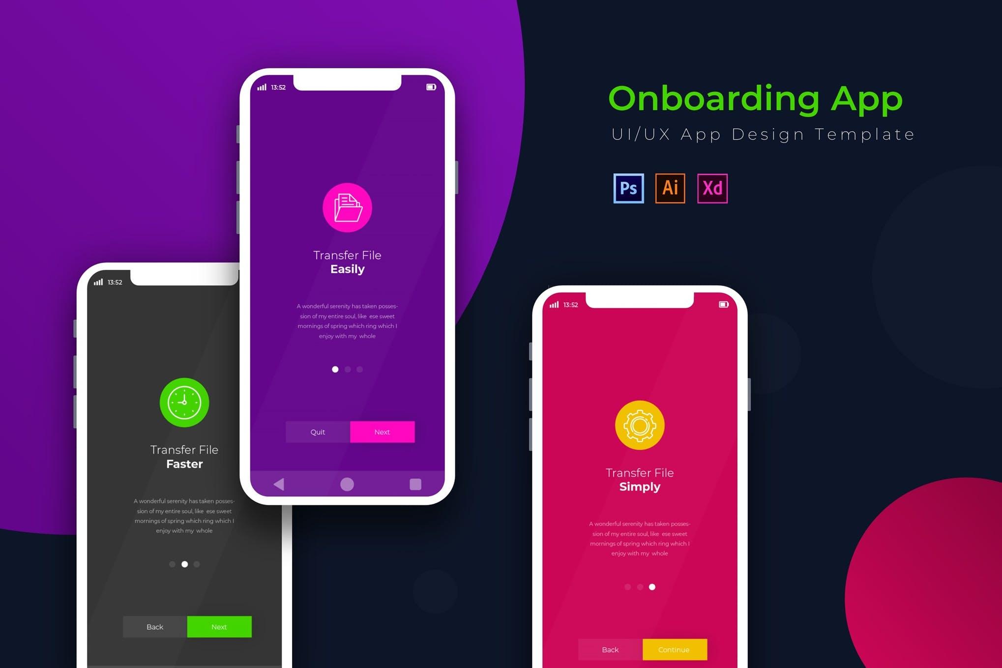 دانلود UI کیت اپلیکیشن موبایل Onboarding - در سه نسخه PSD، وکتور و XD
