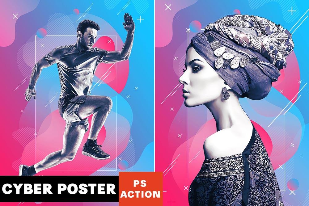دانلود اکشن فتوشاپ Cyber Poster - به همراه آموزش استفاده از محصول