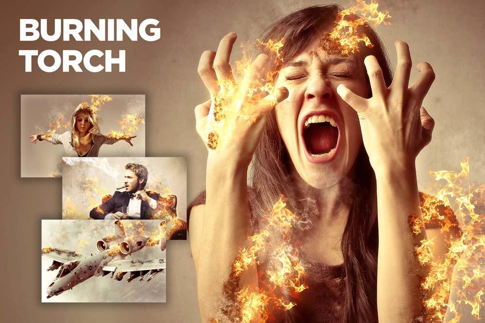 دانلود اکشن فتوشاپ خلاقانه و حرفه ای Burning Torch