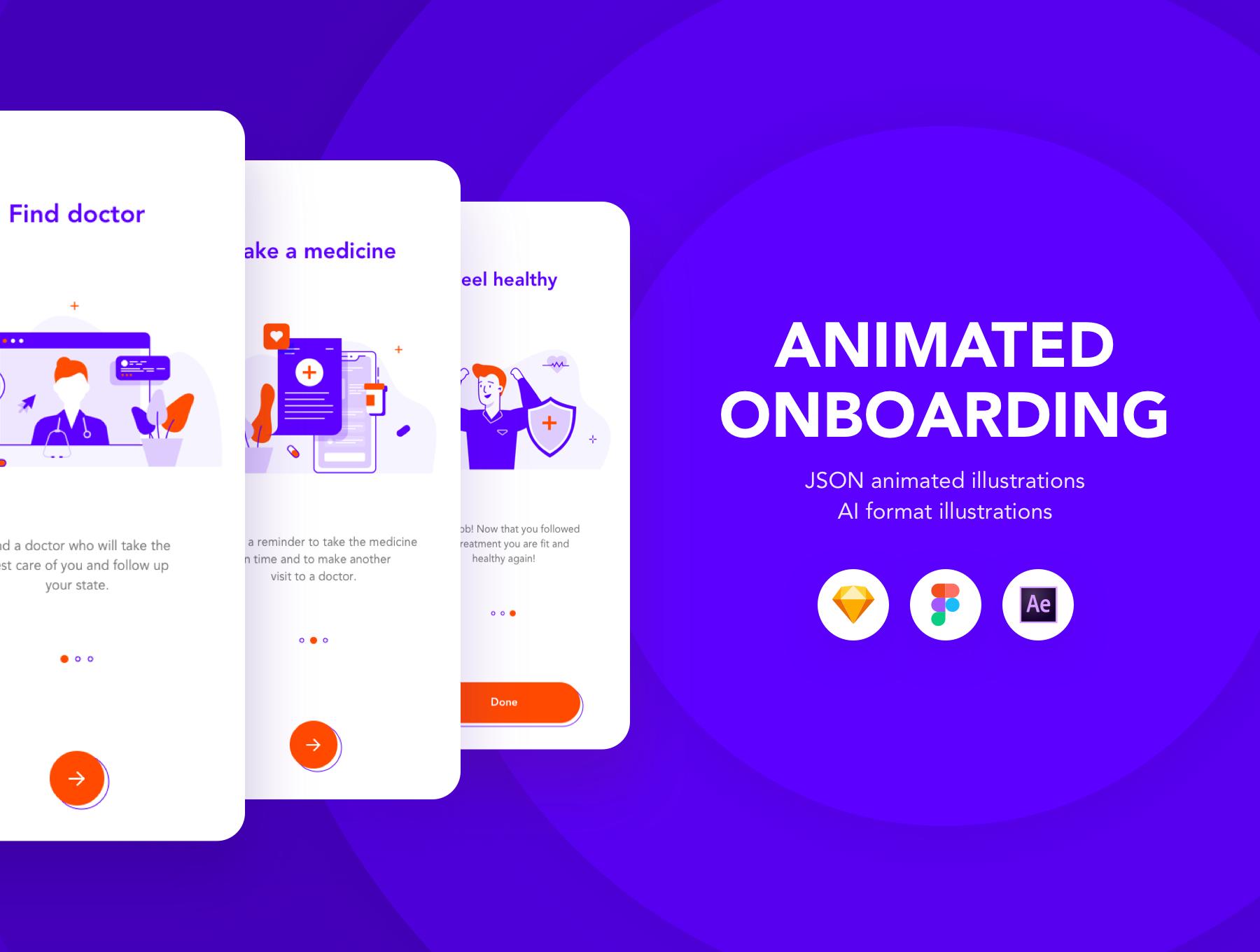 دانلود UI KIt انیمیشنی Animated Medicine onboarding
