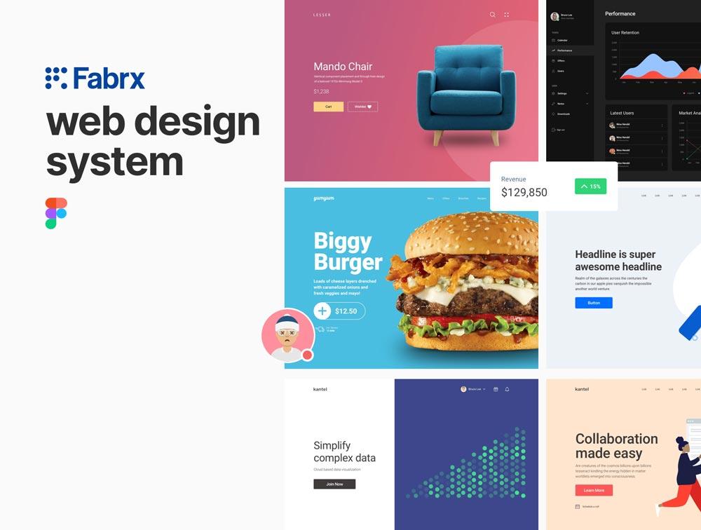 دانلود UI کیت و قالب آماده وب سایت Fabrx Web Design System