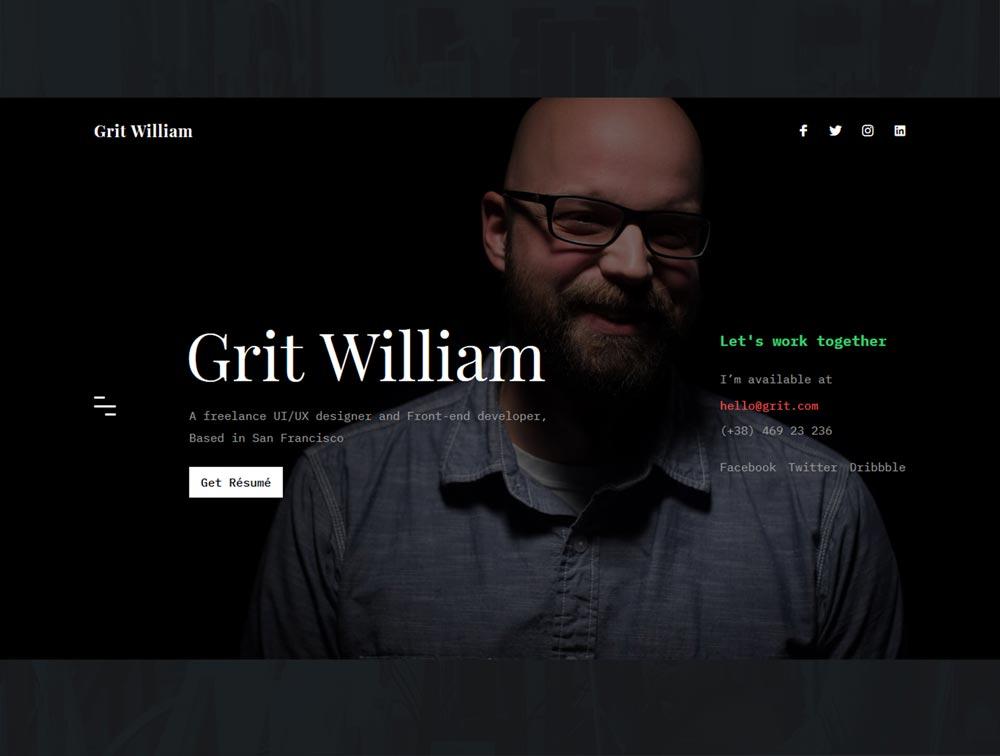 Photo of دانلود قالب سایت Grit – قالب رزومه و نمونه کار شخصی وردپرس