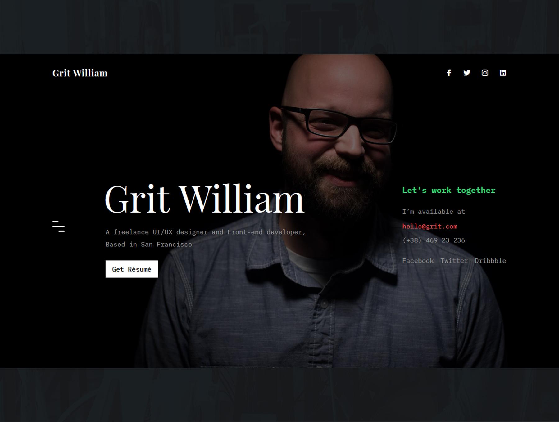 Grit Portfolio CV Resume HTML Template - دانلود قالب سایت Grit - قالب رزومه و نمونه کار شخصی وردپرس