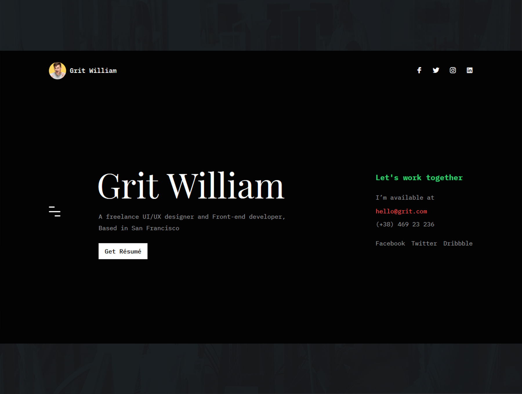 Grit Portfolio CV Resume HTML Template1 - دانلود قالب سایت Grit - قالب رزومه و نمونه کار شخصی وردپرس