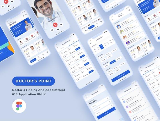 دانلود UI Kit اپلیکیشن موبایل Medical - کیت آماده iOS پزشکی و درمانی فیگما