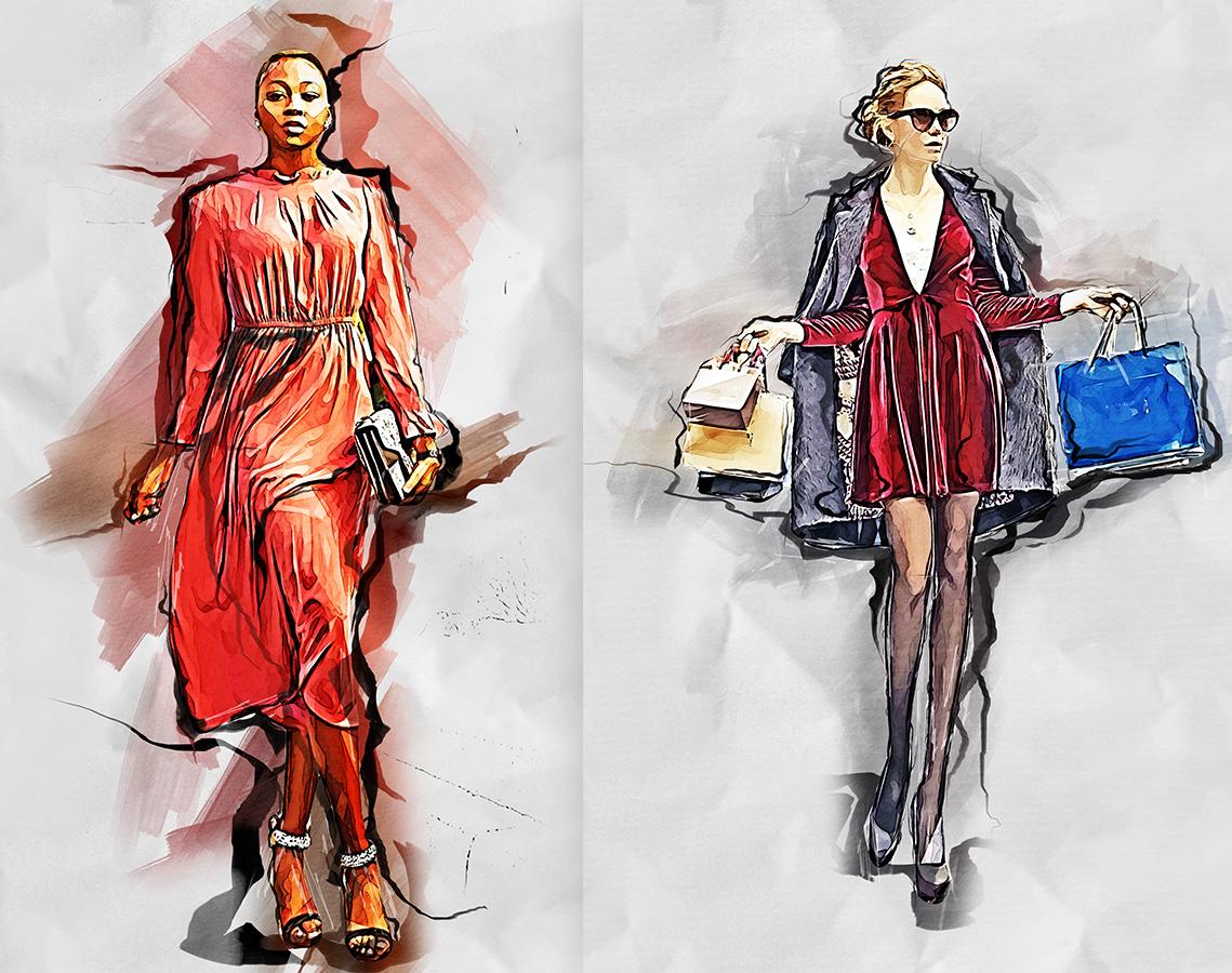 Fashion Sketch Photoshop Action 3 - دانلود اکشن فتوشاپ Fashion Sketch - مجموعه اکشن، پترن و براش