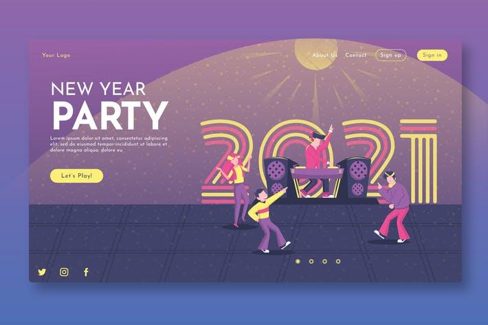 دانلود UI Kit صفحه فرود وب سایت New Year Party