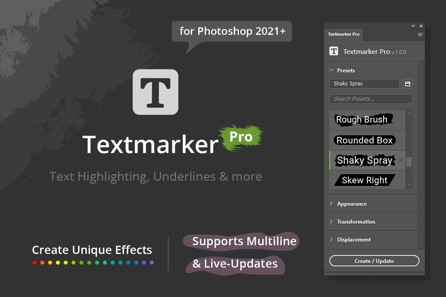 دانلود پلاگین و افزودنی فتوشاپ Textmarker Pro for PS 2021+