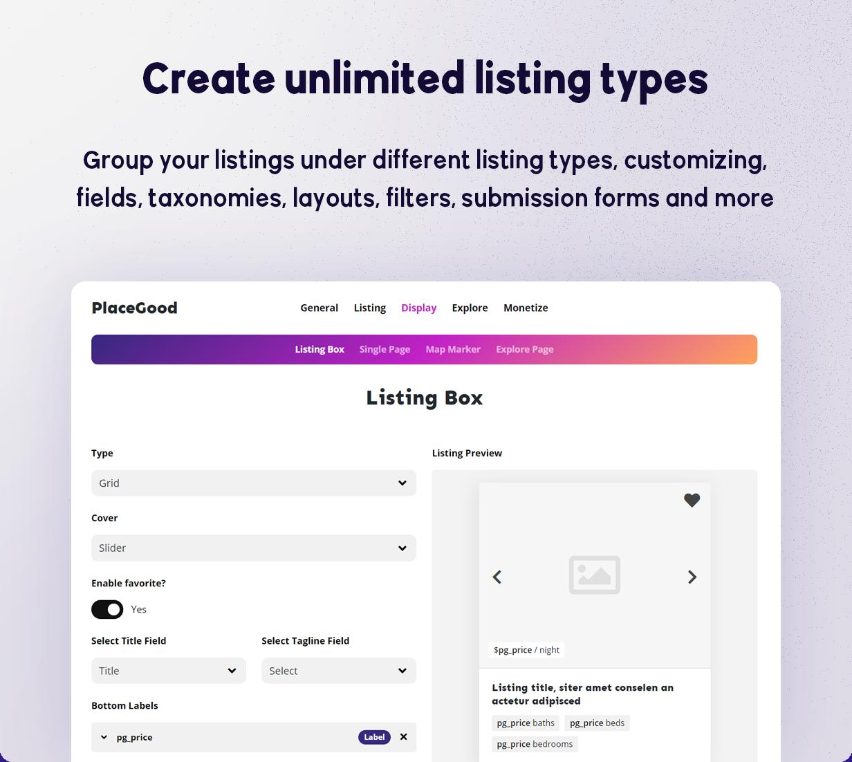 BRIKK- listing and directory WordPress theme - listing types
