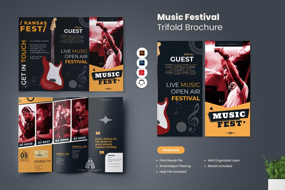 دانلود تمپلیت Music Festival Trifold Brochure
