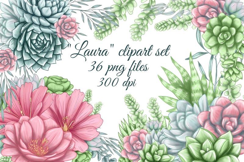دانلود Succulent Clipart, Cute Cacti Png, Succu