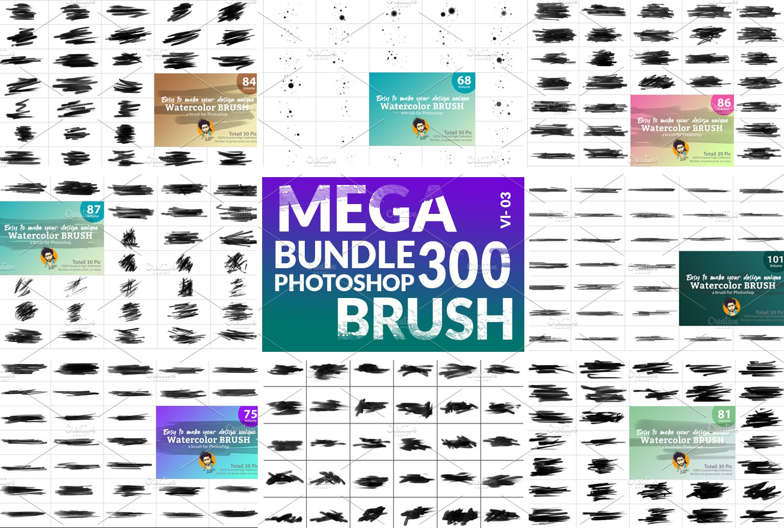 Watercolor Brush Bundle Vl 03