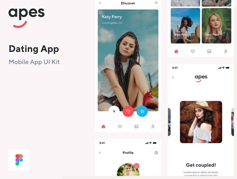 Apes Dating App UI Kit - دانلود UI Kit و رابط کاربری لایه باز Apes Dating App