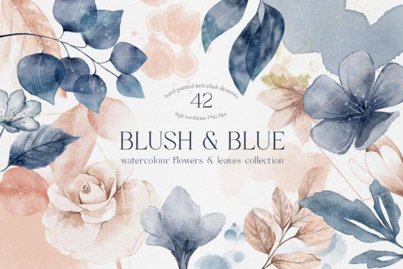 Blush and Blue Leaves Florals Watercolor - دانلود Blush and Blue Leaves Florals Watercolor