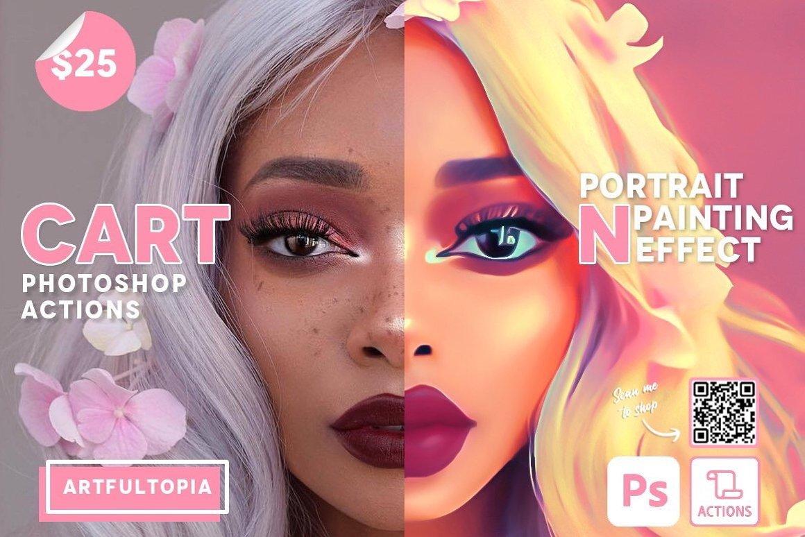 Cartoon Portrait Painting Effect 1 - دانلود اکشن فتوشاپ Cartoon Portrait Painting Effect