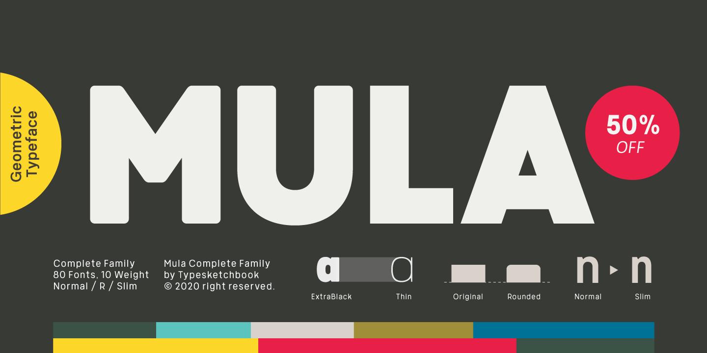 mula - دانلود خانواده فونت انگلیسی Mula