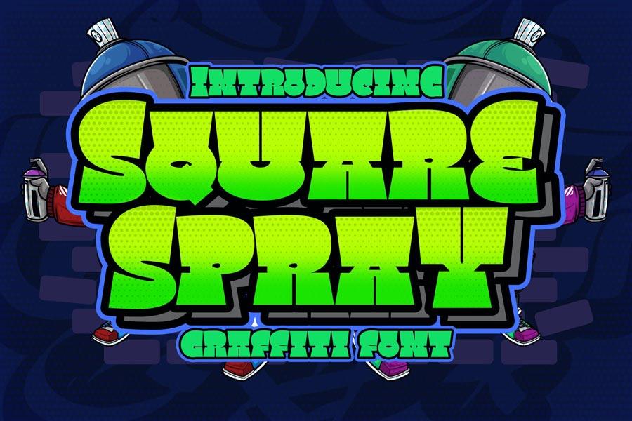 دانلود فونت انگلیسی Square Spray Graffiti Font + فونت وب